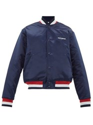 Noon Goons Dugout Embroidered Satin Bomber Jacket Navy