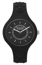 Versus By Versace Fire Island Silicone Strap Watch 39Mm Black White