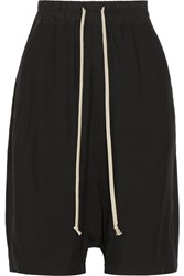 Rick Owens Cotton Trimmed Crepe Shorts Black