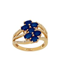 Lord And Taylor Sapphire Diamond 14K Gold Ring Yellow Gold