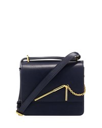 Sophie Hulme Medium Leather Drinking Straw Saddle Bag Navy