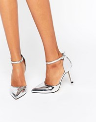 True Decadence Ankle Strap Point Heeled Shoes Silver Metallic
