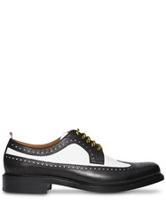 Burberry Brogue Detail Two Tone Leather Derby Shoes Black