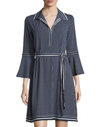 Max Studio Belted Polka Dot Shirtdress Blue Pattern
