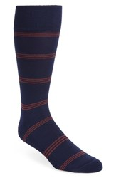 Nordstrom Men's Shop Triple Line Socks Navy Red
