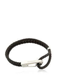 Montblanc Steel And Leather Bracelet Black