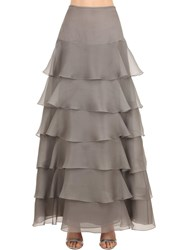 Giorgio Armani High Waist Ruffled Organza Skirt Grey