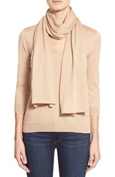 Women's Classiques Entier V Neck Merino Sweater With Detachable Scarf Beige Sand Heather