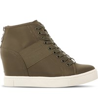 Steve Madden Lussious Lace Up Wedge Trainers Green Fabric