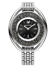 Swarovski Crystalline Stainless Steel Black Dial Oval Bracelet Watch Silver