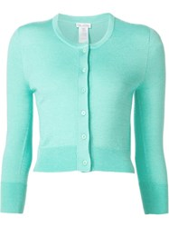 Oscar De La Renta Cropped Button Cardigan Green