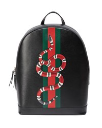 Gucci Web And Snake Leather Backpack Black