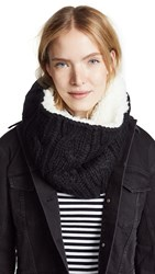 Plush Sherpa Cable Knit Neck Warmer Black Cream