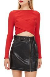 Topshop Wrap Rib Crop Top Red