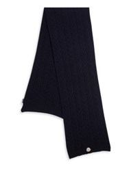 Moncler Solid Virgin Wool Scarf Navy