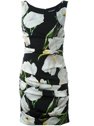 Dolce And Gabbana Tulip Print Ruched Dress Black