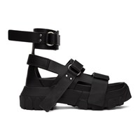 Rick Owens Black Ankle Strap Tractor Sandals