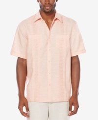 Cubavera Men's Big And Tall Linen Blend Embroidered Pintuck Shirt Canyon Clay