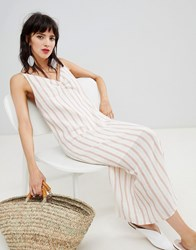 Mango Stripe Dress In Beige And Stripe