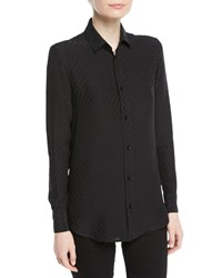 Saint Laurent Poppy Flower Print Classic Silk Blouse Black