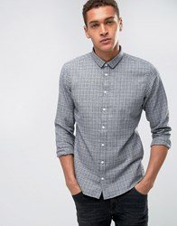 Casual Friday Shirt Windowpane Checked Shirt In Regular Fit Pewter Mix Grey