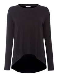 Marella Anemone Long Sleeved Embroidered T Shirt Black