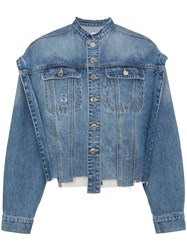 Sjyp Text Print Insert Denim Jacket Cotton Blue