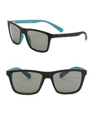 Guess 58Mm Square Rubberized Sunglasses Havana