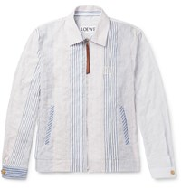 Loewe Slim Fit Striped Cotton Blend Blouson Jacket White