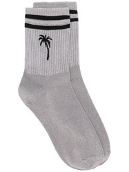 Msgm Palm Tree Striped Socks Silver