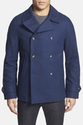 Original Penguin Double Breasted Wool Blend Peacoat Blue