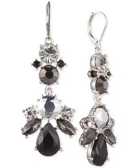 Nine West Silver Tone Monochromatic Stone And Crystal Chandelier Earrings