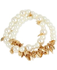 Inc International Concepts M. Haskell For 2 Pc. Set Imitation Pearl And Shaky Leaf Stretch Bracelets Only At Macy's Gold