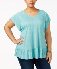 Style And Co Plus Size Flutter Sleeve Peplum Top Only At Macy's Teal
