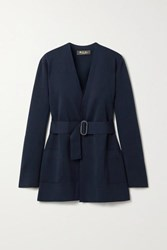 Loro Piana Belted Silk And Cotton Blend Cardigan Midnight Blue