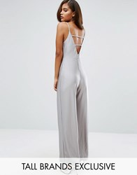 Missguided Tall Metallic Back Detail Jumpsuit Silver