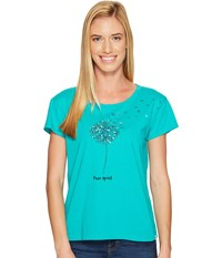 Life Is Good Free Spirit Breezy Tee Bright Teal Women's T Shirt Blue