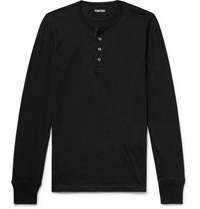 Tom Ford Cotton Jersey Henley T Shirt Black