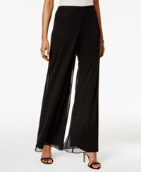 Msk Petite Mesh Sparkle Wide Leg Pants Black