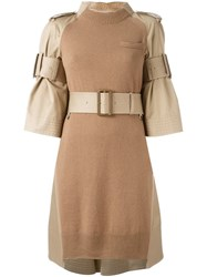 Sacai Belted Sweater Dress Nude And Neutrals