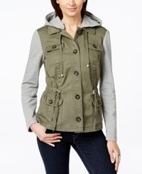 Inc International Concepts Mixed Media Hooded Anorak Jacket Only At Macy's Olive Drab