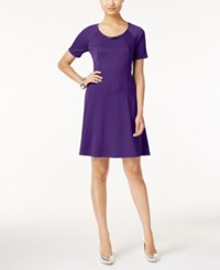 Ny Collection Petite Ponte Fit And Flare Dress Purple Magic