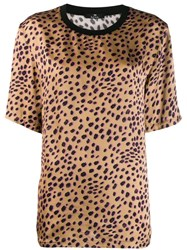 Paul Smith Ps Leopard Print Satin Top Brown