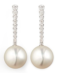 White South Sea Pearl And Diamond Bar Drop Earrings Eli Jewels