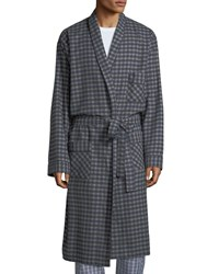 Neiman Marcus Brushed Flannel Robe Gray