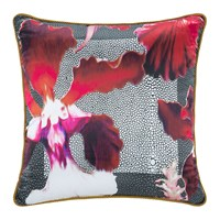 Roberto Cavalli Wild Flora Silk Cushion Red
