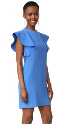 Victoria Beckham Flounce Sleeve Shift Dress Blue
