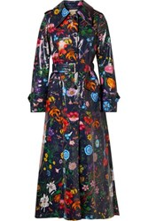Gucci Oversized Floral Print Coated Cotton Drill Trench Coat Navy