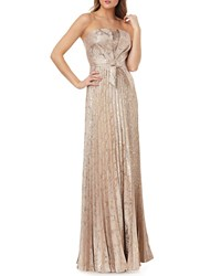 Kay Unger New York Strapless Metallic Jacquard Gown W Bow Gold Multi