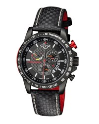 Gv2 50Mm Scuderia Men's Chronograph Watch W Leather Strap Black
